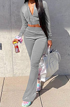 Gray Euramerican Women Korea Velvet Hooded Long Sleeve Zipper Solid Color Flare Leg Pants Sets NK264-2