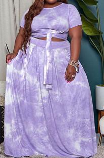 Purple Euramerican Women Fashion Loose Printing Plus Skirt Sets MA6714 -4