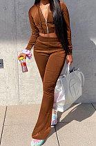 Brown Euramerican Women Korea Velvet Hooded Long Sleeve Zipper Solid Color Flare Leg Pants Sets NK264-5