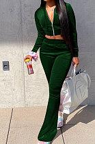 Dark Green Euramerican Women Korea Velvet Hooded Long Sleeve Zipper Solid Color Flare Leg Pants Sets NK264-4