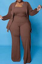 Brown Euramerican Women Pure Color Button Condole Belt Tank Long Sleeve Coat Loose Three Pieces Plus Pants Sets PH13247-5