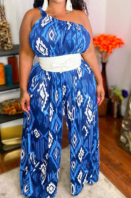 Blue Women Tie Dye One Shoulder Printing Sleeveless Casual Jumpsuit MA6732-2