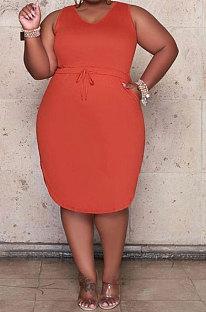 Orange Women Euramerican Fashion Bodycon Sleeveless Solid Color Plus Mini Dress MA6727-1
