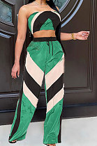 Neon Green Women Fashion Sexy Strapless Tops Printing Sport Casual Pants Sets QMX1005