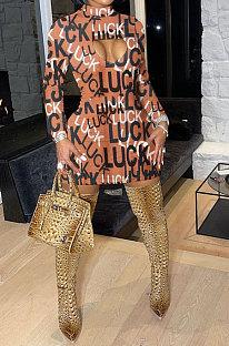 Brown Euramerican Women Long Sleeve LUCK Printing Hole Mid Waist Mini Dress QMX1013