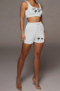 White Women Trendy Sexy Tank Sleeveless Shorts Sets QMX1002