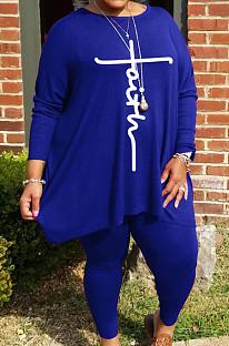 Blue Autumn Winter Women Fashion Casual Plus Pants Sets  WA77241-4