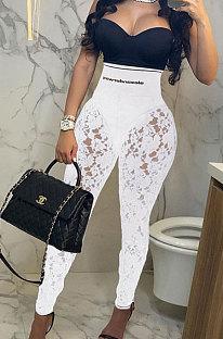 White Autumn Lace Spliced Collect Waist Bodycon HipRaise Pencil Pants BLG44970-1