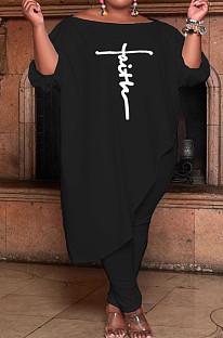 Black Women Solid Color Loose Oblique Shoulder Positioning Embroidered Pants Sets WXY6610-1