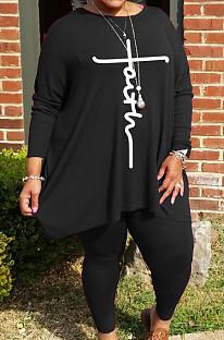 Black Autumn Winter Women Fashion Casual Plus Pants Sets  WA77241-3