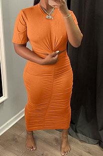 Orange Euramerican Women Solid Color Short Sleeve Round Collar Mid Waist Ruffle Midi Dress JR3640-2