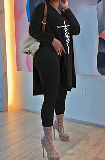 Black Euramerican Women Long Sleeve Printing Casual Pants Sets JR3654-1