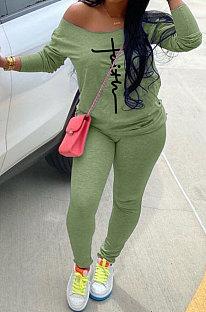 Gray Women Trendy Oblique Shoulder Letters Printing Casual Sport Pants Sets YFS10025-1