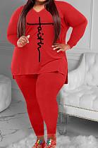 Red Womne Casual V Collar Split Letters Printing Sport  Plus Pants Sets YFS10024-1