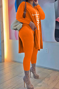 Orange Euramerican Women Long Sleeve Printing Casual Pants Sets JR3654-3