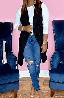 Black Simple Pure Color Lapel Neck Sleeveless Jacket Coat LSZ91190-4