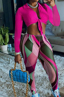 Rose Red Modest Long Sleeve Bandage Crop Top Digital Print Pencil Pants Two-Piece MN8381-2