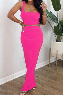 Rose Red Euramerican Sexy Women Sleeveless Solid Color Tank Tight At Home Casual Skirts Sets KZ152-5
