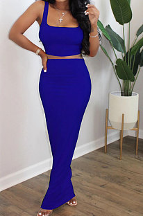 Peacock Blue Euramerican Sexy Women Sleeveless Solid Color Tank Tight At Home Casual Skirts Sets KZ152-6