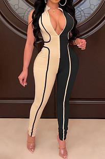 Black Euramerican Women Tight Sleeveless Spliced Zipper Low Waist Bodycon Jumpsuits JR3649-1