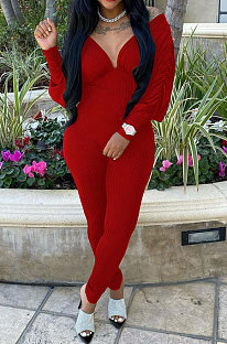 Red Women Autumn Women Solid Color V Collar Batwing Sleeve Collect Waist Back Hollow Out Bodycon Jumpsuits SMY8111-1