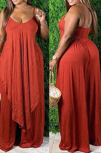 Orange Sexy Pure Color Condole Belt Irregularity Top Wide Leg Pants Sets QZ7003-2
