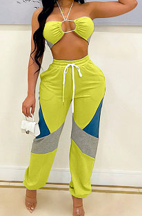 Yellow Sexy Sport Colorful Zip Back Strapless+Banded Pantd Casual Sets QZ7001-1