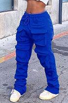 Blue Women Pure Color More Pocket Mid Waist Long Pants SMY8063-4