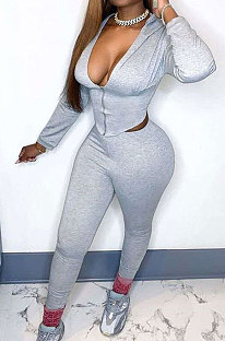 Gray Euramerican Women Solid Color Zipper Long Sleeve Hooded Dew Chest Bodycon Pants Sets SMY81113-1