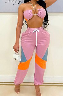 Pink Sexy Sport Colorful Zip Back Strapless+Banded Pantd Casual Sets QZ7001-4