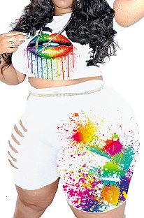 White Euramerican Big Size Women Fashion Casual Hole Lips Positioning Printing Plus Shorts Sets HZF57802-1