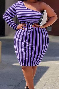 Purple Big Yards Stripe Print One Shoulder Slim Fitting Dress QSS51042-1