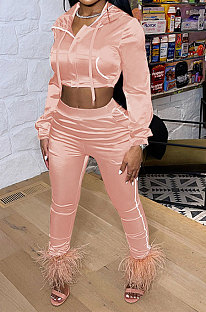 Pink Euramerican Women Casual Solid Color Long Sleeve Hooded Zipper Crop Bodycon Pants Sets MLM9077-2