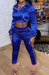 Peacock Blue Euramerican Women Casual Solid Color Long Sleeve Hooded Zipper Crop Bodycon Pants Sets MLM9077-5