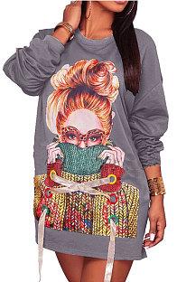 Gray Fashion Pattern Print Long Sleeve Loose T Shirt Dress QZ5210-1