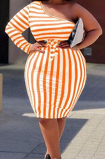 Orange Big Yards Stripe Print One Shoulder Slim Fitting Dress QSS51042-3