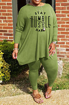 Green Simple Letter Print Long Sleeve Round Neck Top Bodycon Pants Fat Woman Sets WA77270-5