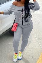 Gray Cotton Blend Print Long Sleeve Off Shoulder Blouse Bodycon Pants Casual Sets WA77272-6