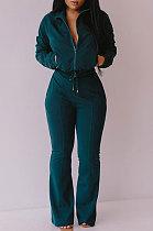 Green Women Solid Color Long Sleeve Cardigan Zipper Sport Flare Leg Pants Sets LML163-6