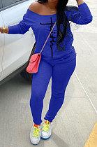 Blue Cotton Blend Print Long Sleeve Off Shoulder Blouse Bodycon Pants Casual Sets WA77272-3