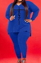 Blue Wholesale Autumn Long Sleeve V Neck Top Pencil Pants Fat Woman Sets WA77267-3