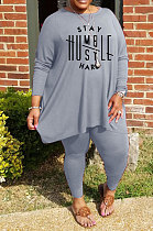 Grey Simple Letter Print Long Sleeve Round Neck Top Bodycon Pants Fat Woman Sets WA77270-1
