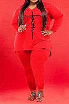 Red Wholesale Autumn Long Sleeve V Neck Top Pencil Pants Fat Woman Sets WA77267-1