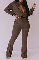 Coffee Women Solid Color Long Sleeve Cardigan Zipper Sport Flare Leg Pants Sets LML163-7