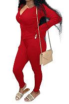 Red Euramerican Women Autumn Winter Ribber Pure Color Zipper Cardigan Bodycon Long Pants Sets Q939-2