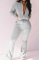 Gray Women Solid Color Long Sleeve Cardigan Zipper Sport Flare Leg Pants Sets LML163-2