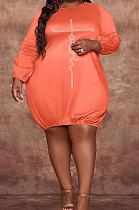 Orange Modest Hot Drilling Long Sleeve Round Neck Collcet Waist Fat Woman Dress WA77274-2