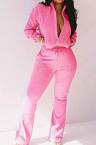 Rose Red Women Solid Color Long Sleeve Cardigan Zipper Sport Flare Leg Pants Sets LML163-3