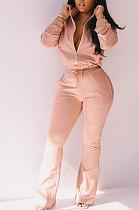 Bare Pink Women Solid Color Long Sleeve Cardigan Zipper Sport Flare Leg Pants Sets LML163-1