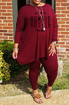 Wine Red Simple Letter Print Long Sleeve Round Neck Top Bodycon Pants Fat Woman Sets WA77270-3